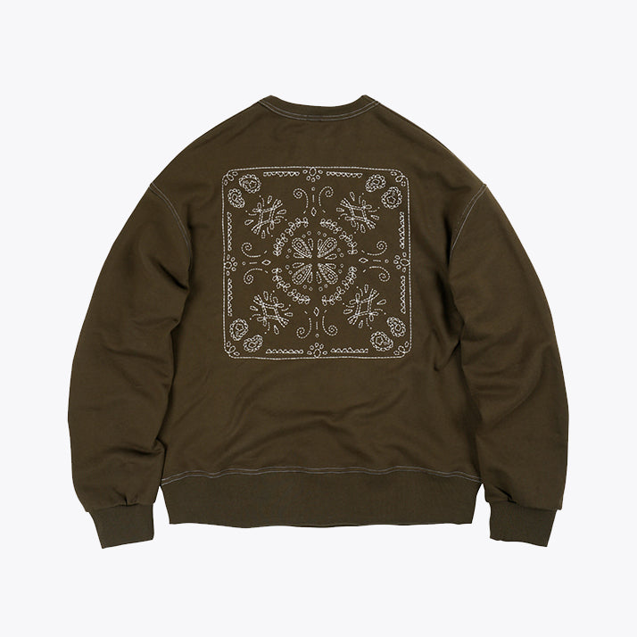 Needlework Stitch Sweatshirt - Olive