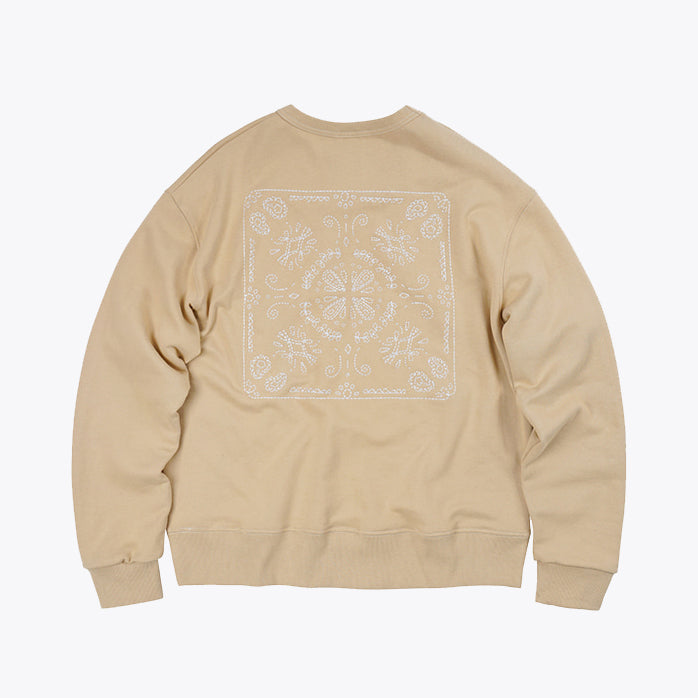 Needlework Stitch Sweatshirt - Beige