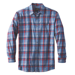Jaspe Plaid Fitted Shirt - Blue/Grey/Red Plaid