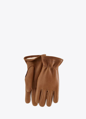 Nutmeg Lined Buckskin Leather Gloves