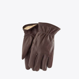 Brown Lined Buckskin Leather Gloves