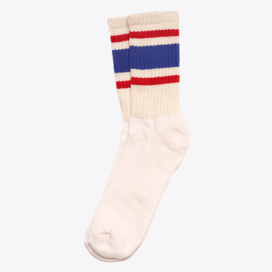 Retro Stripe Sock - Royal / Red