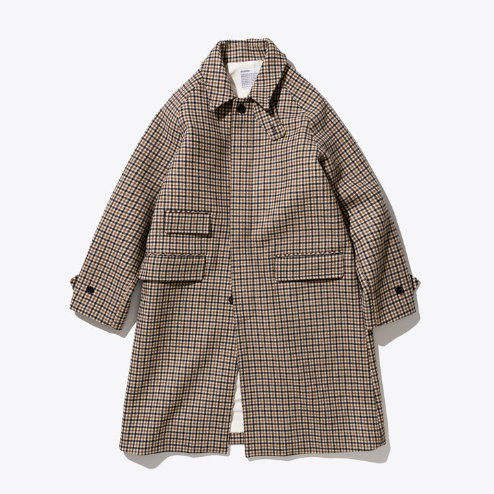 Wool Balmacaan Coat - Check