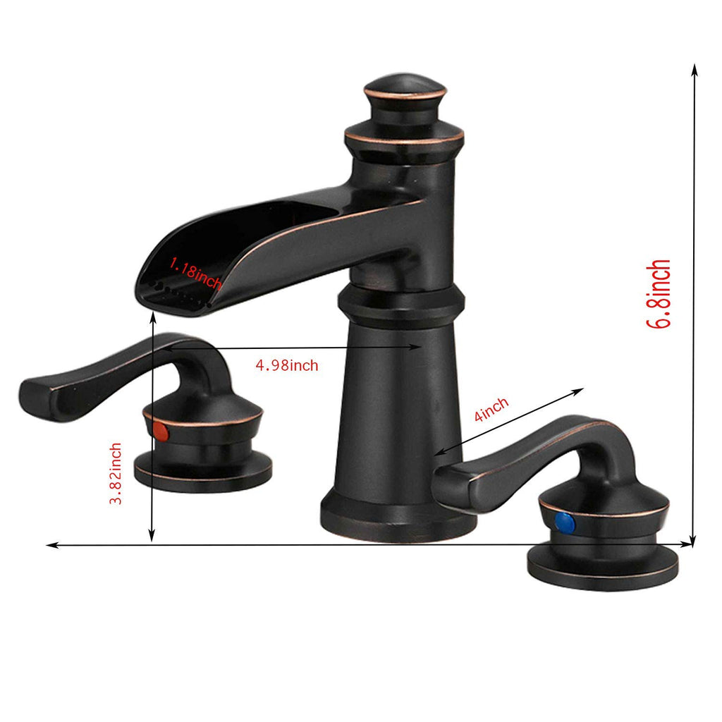 BWE Waterfall 8-16 Inch 3 Holes Two Handle Widespread Commercial Bathroom Sink Faucet Lavatory Oil Rubbed Bronze