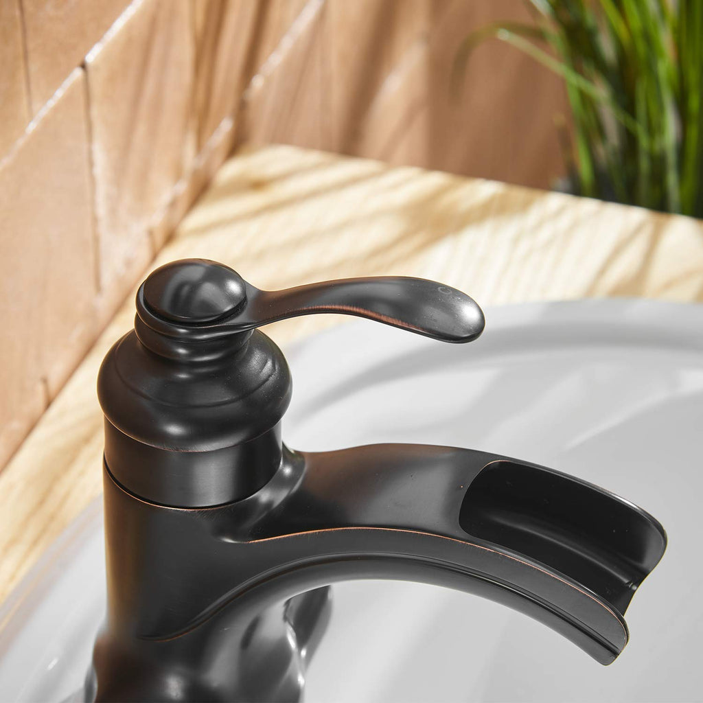 BWE Single Handle One Hole Commercial Bathroom Sink Faucet Oil Rubbed Bronze Deck Mount Lavatory