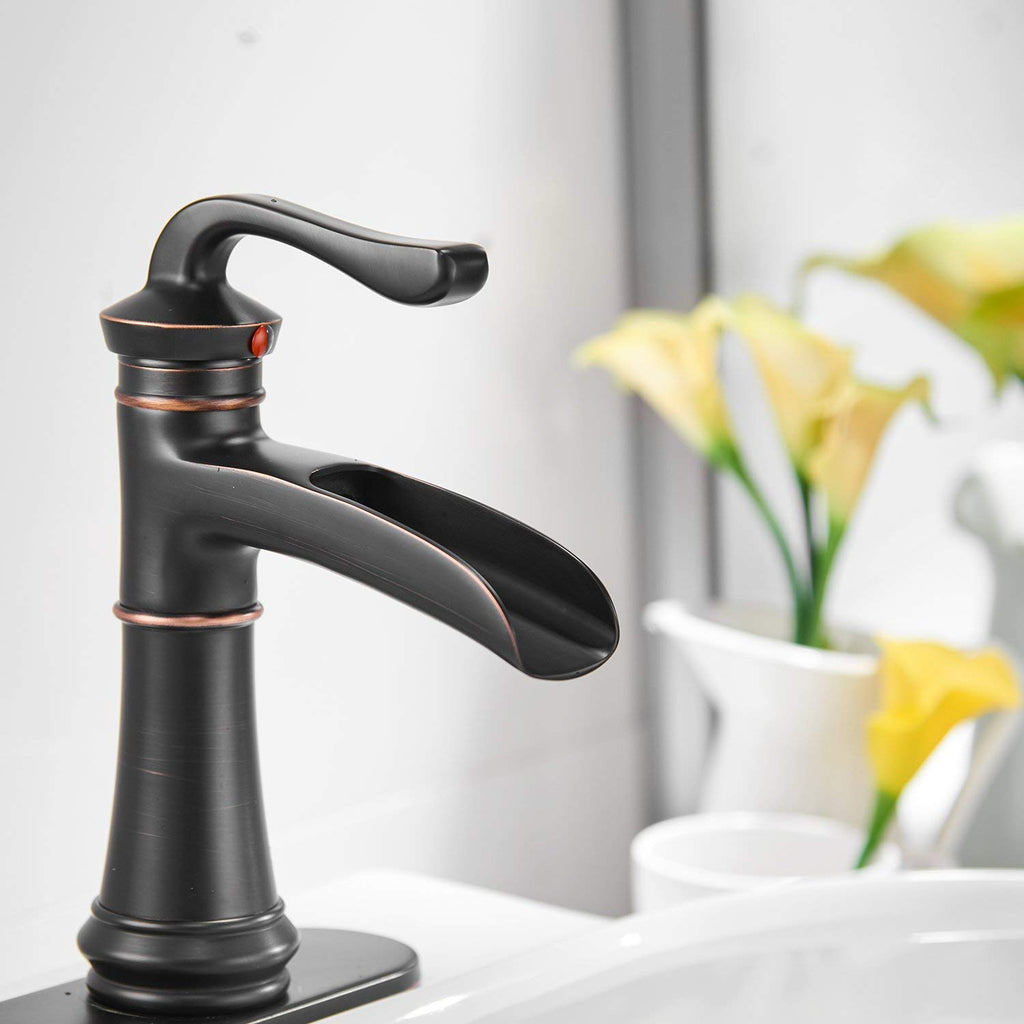 BWE Oil Rubbed Bronze Waterfall Single Handle One Hole Commercial Bathroom Sink Faucet Lavatory Faucets Deck Mount