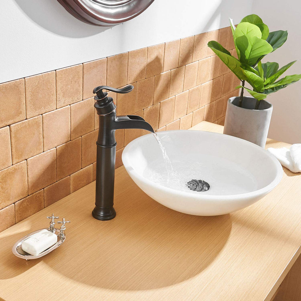 BWE Oil Rubbed Bronze Waterfall Single Handle Lever One Hole Commercial Bathroom Vessel Sink Faucet Deck Mount