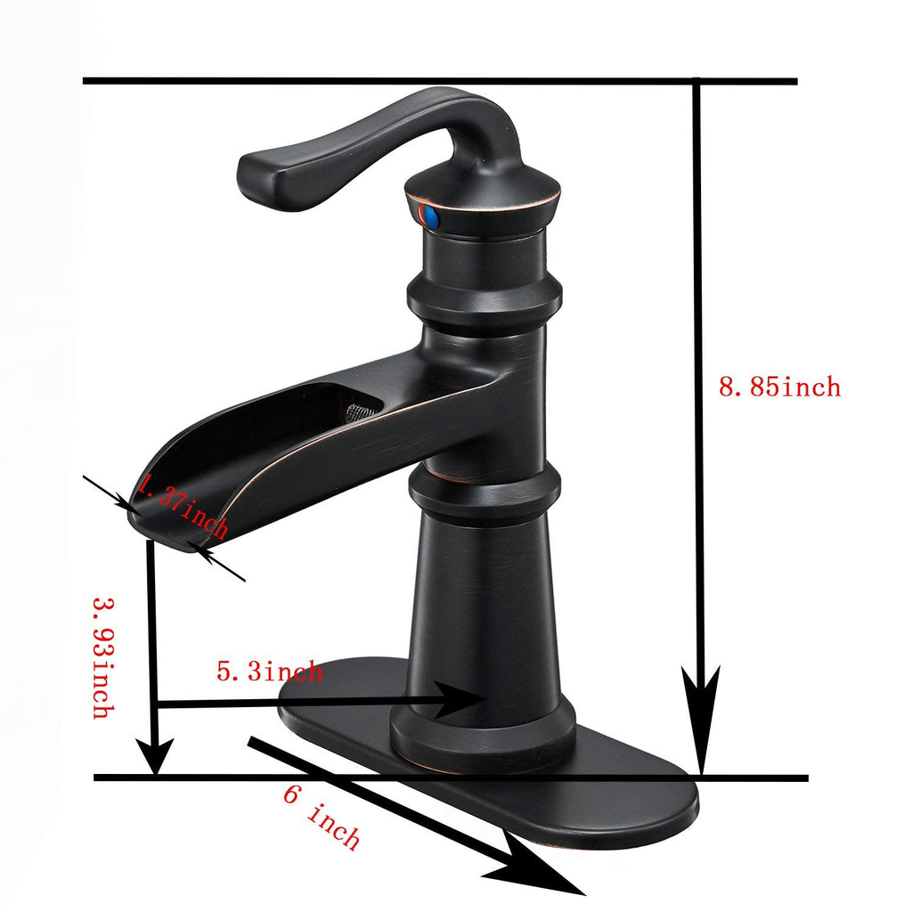 BWE Waterfall Single Handle One Hole Oil Rubbed Bronze Commercia Bathroom Sink Faucet Lavatoryl Faucets Deck Mount
