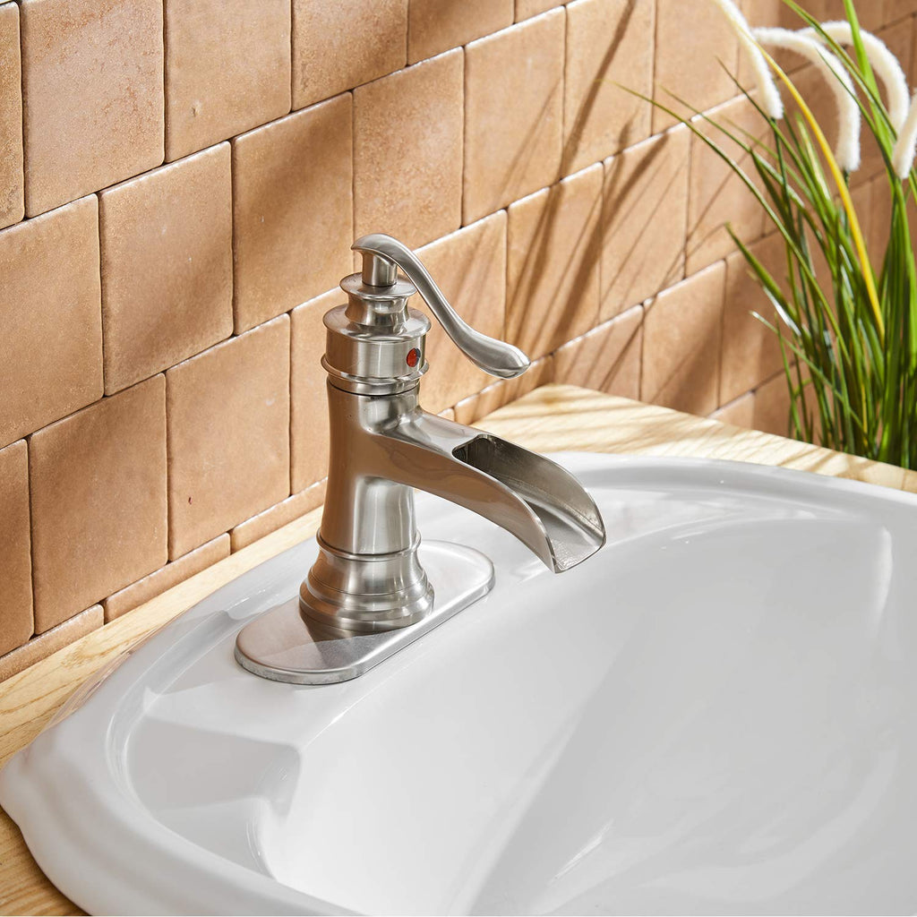 BWE Waterfall Brushed Nickel Commercial Bathroom Sink Faucet Single Handle One Hole Deck Mount Lavatory