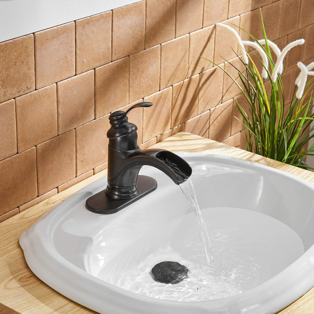 BWE Waterfall Single Handle One Hole Commercial Bathroom Sink Faucet Oil Rubbed Bronze Deck Mount Lavatory