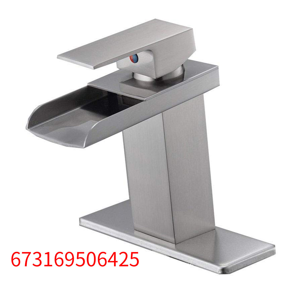 BWE  Nickel Brushed Waterfall Bathroom Sink Vessel faucet Lavatory Mixer Tap Open Channel Water Spout