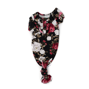 Emma Floral knotted Ruffle button newborn gown