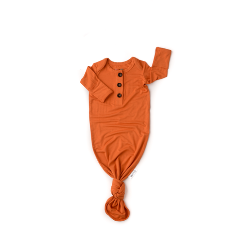 Burnt Orange knotted button newborn gown