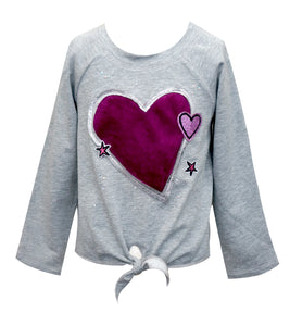 Gray Raglan Tie Front Top with Faux Fur Heart
