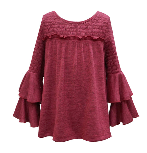 Heather Red Smocked Top