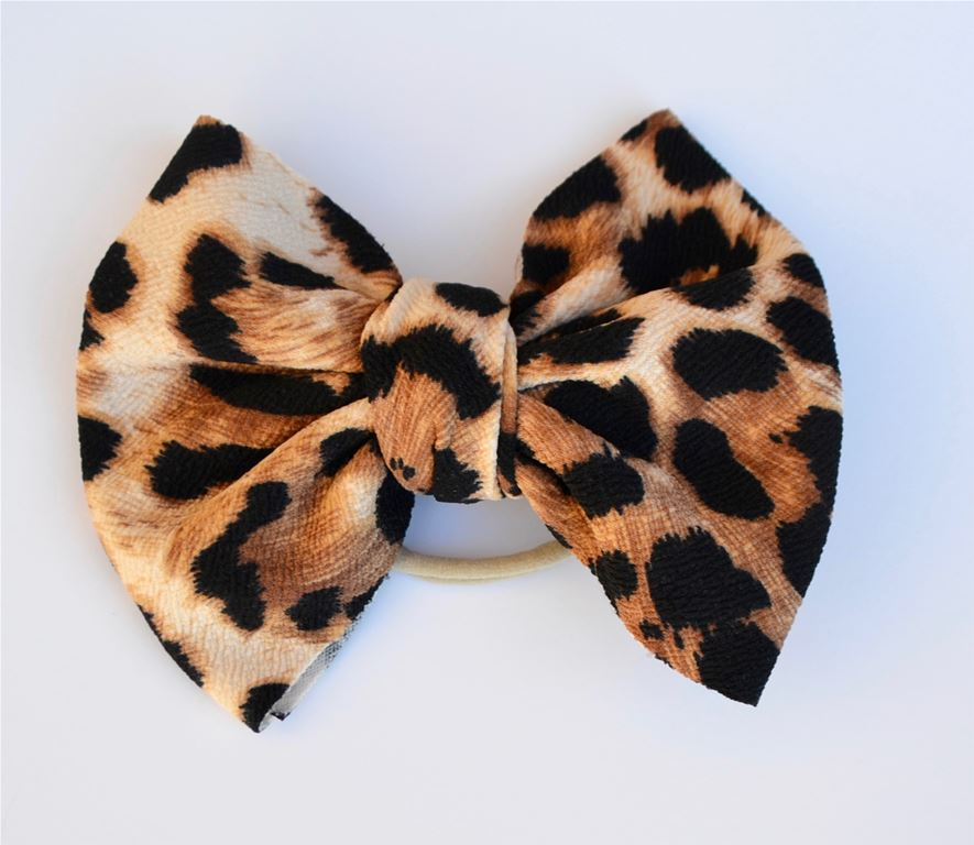 Brown Leopard Baby Bella Hair Bow