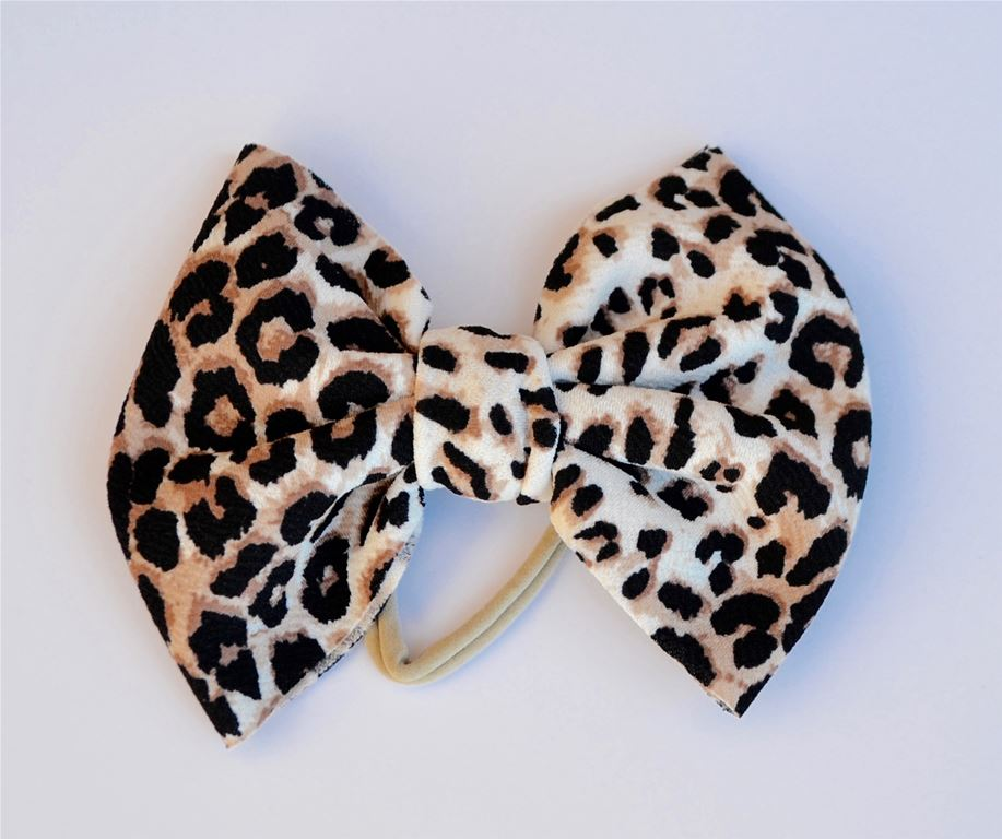Ivory Leopard Baby Bella Hair Bow