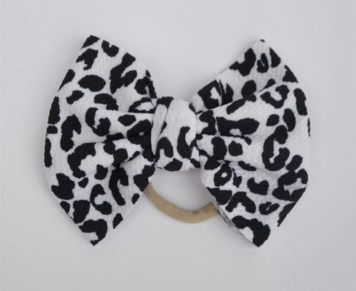 Black and White Leopard Baby Bella Hair Bow