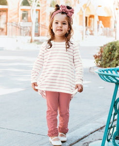 Ivory & Mauve Striped Bow Top