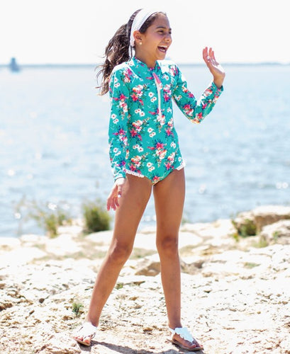 Fancy Me Floral Long Sleeve One Piece  Rash Guard