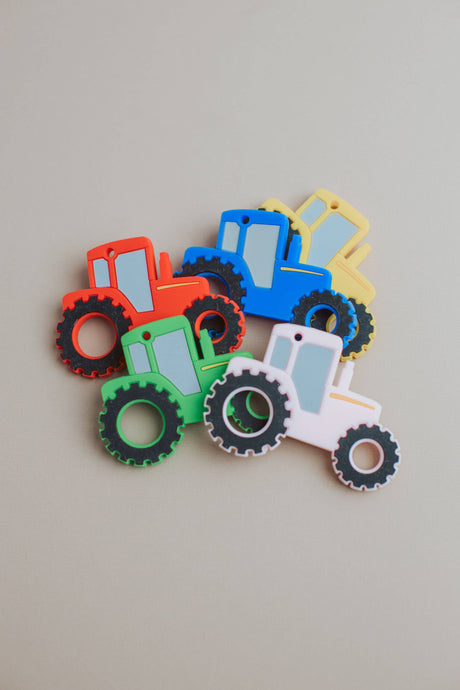 Tractor Silicone Teether: Blue