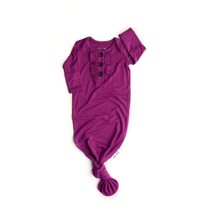 Isla Magenta knotted Ruffle button newborn gown