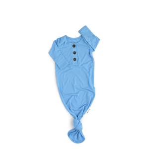 Baby blue knotted button newborn gown