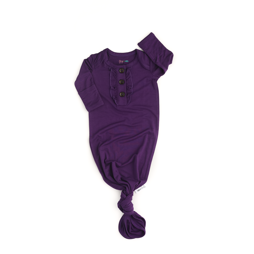 Plum knotted Ruffle button newborn gown