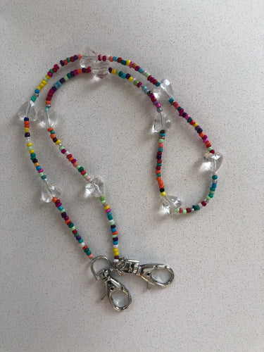 Clear Hearts Rainbow Mask Lanyard