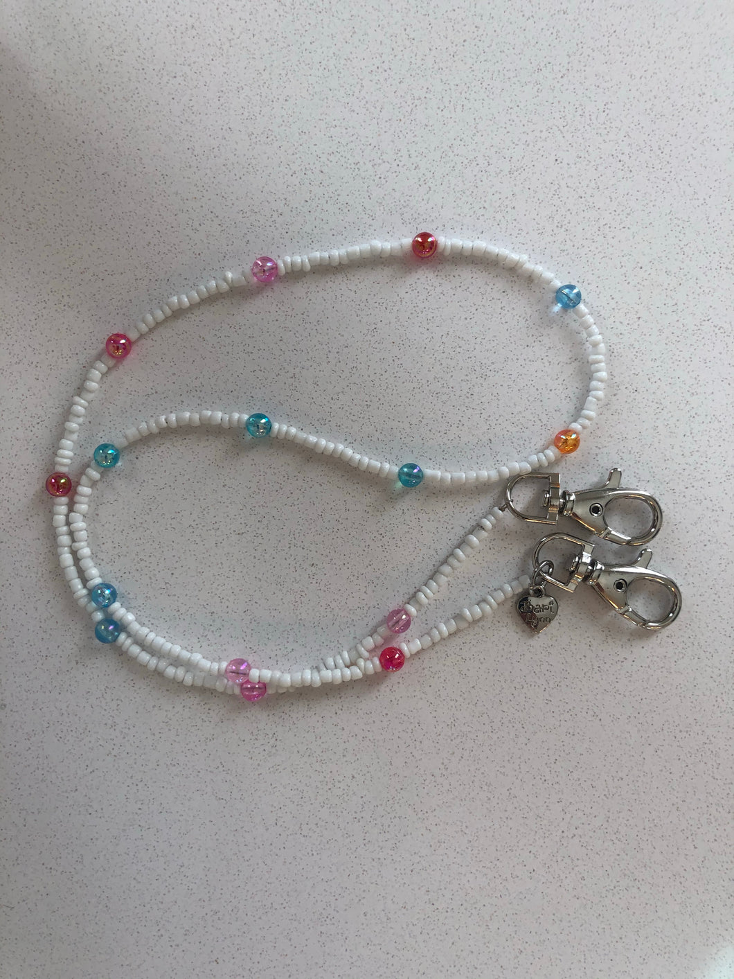 White with colorful beads Mask Lanyard