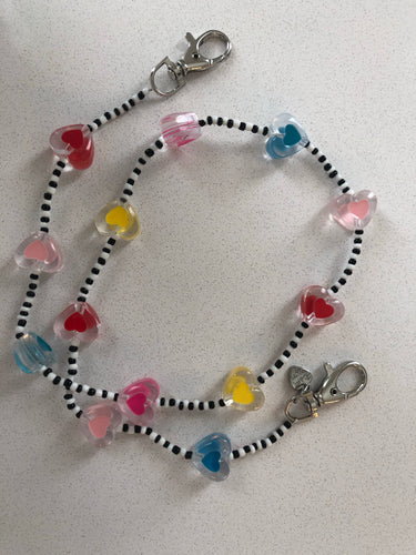 Hearts with Black & White Mask Lanyard