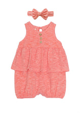 Load image into Gallery viewer, Coral Romper & Bow