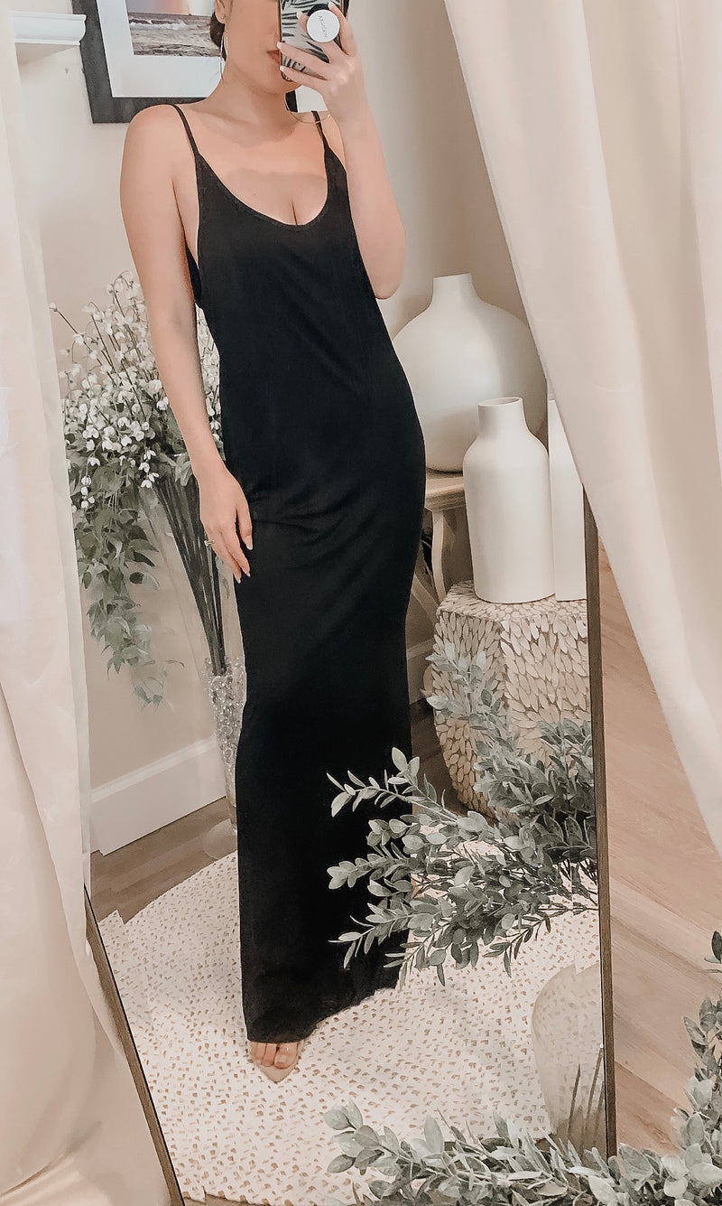 Samantha Eng Backless Jersey Slip Maxi Dress