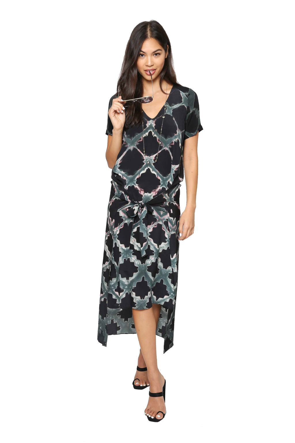 Laura Siegel Geometric Clamp Tie Dress