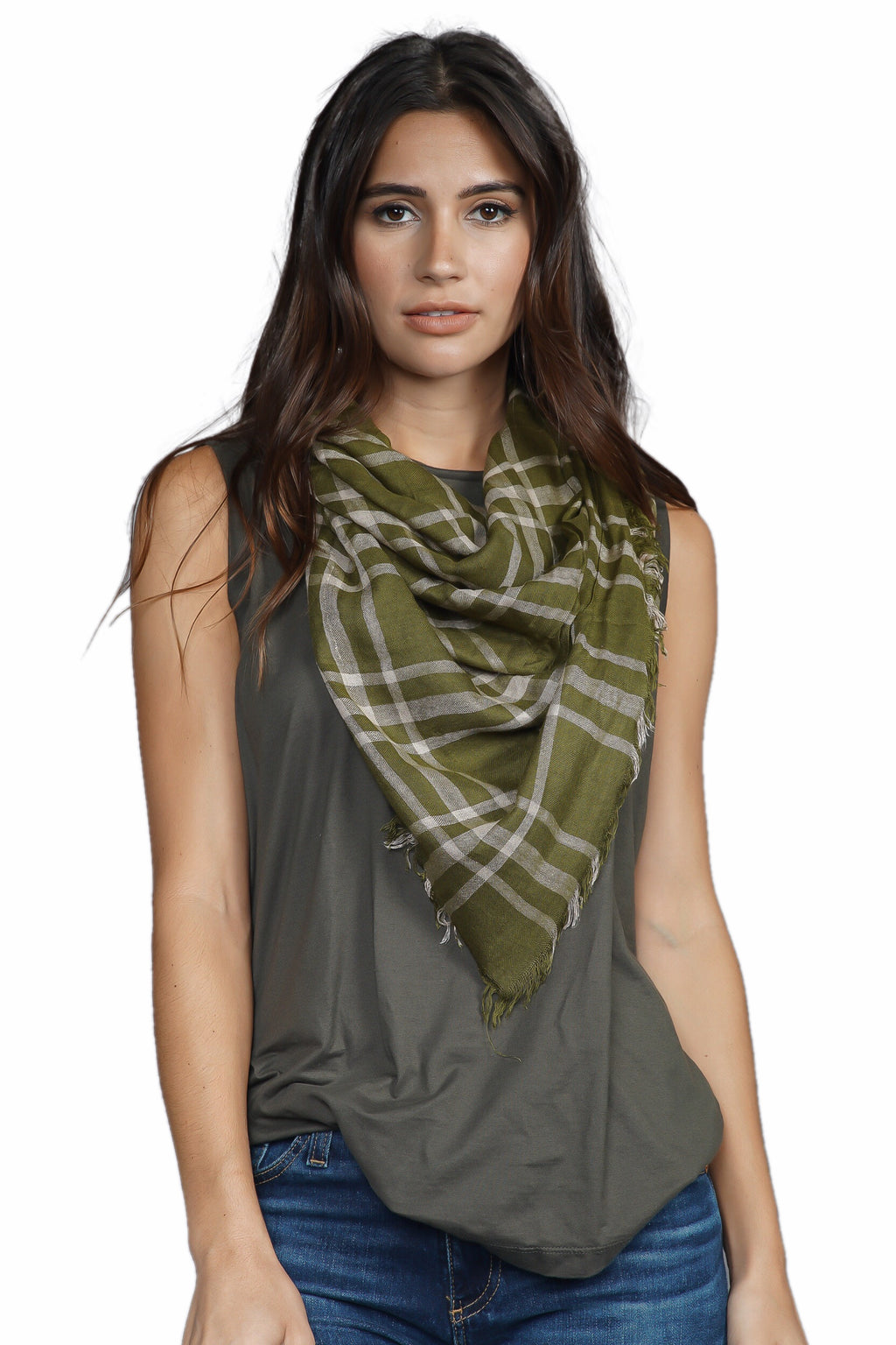 Chan Luu Plaid Scarf With Fringe