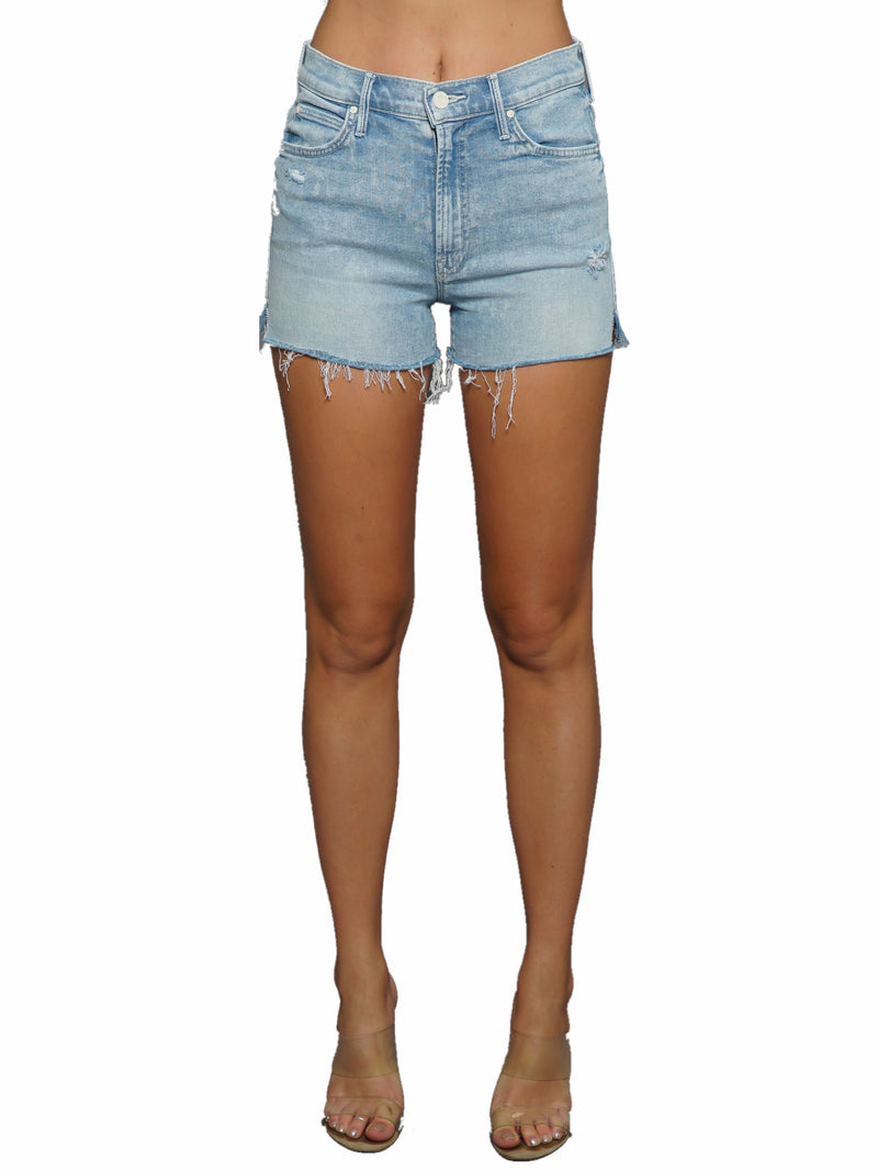 Mother Denim HW Rascal Slit Fray Short