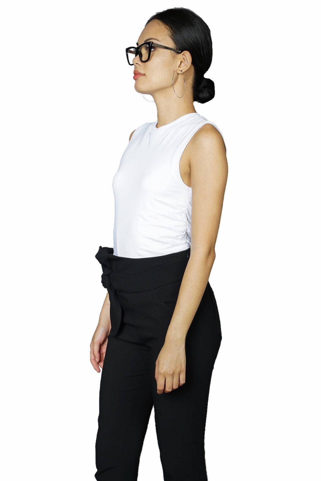 ATM Pima Cotton Ruched Sleeveless Tee