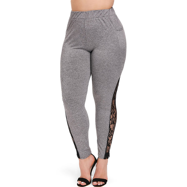 Plus Size Lace Insert Pocket Women Ninth Leggings Shopping  Online