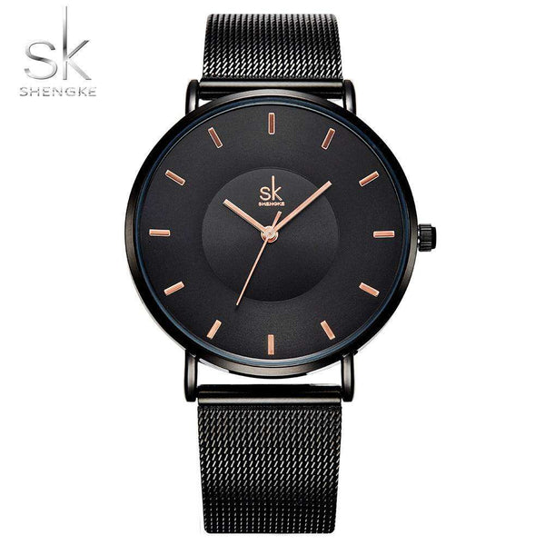 Shengke Fashion Black Women Watches 2017 High Quality Ultra thin Quartz Watch Woman Elegant Dress Ladies Watch Montre Femme SK Shopping Jewelry and Watch Online