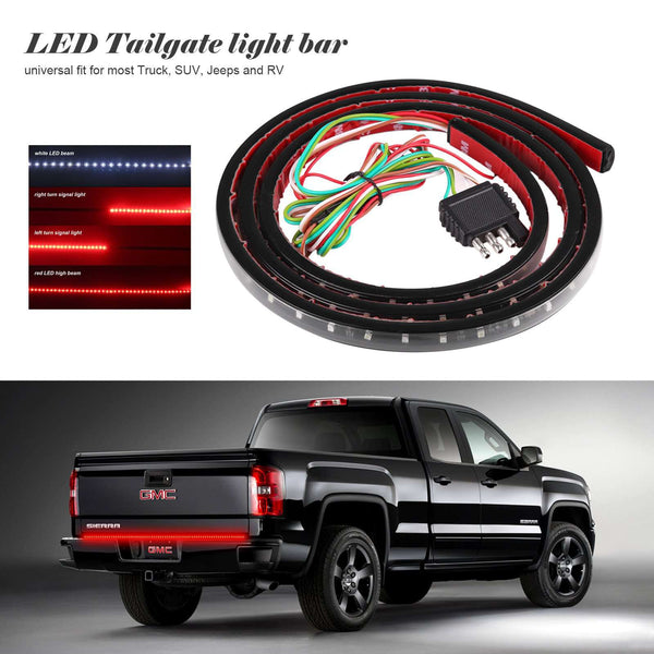 "60"" Flexible Car Truck 90-LED Tailgate Light Bar Running/Brake/Reverse/Signal/Rear Strip Light Lamp SMD Red and White 12V"