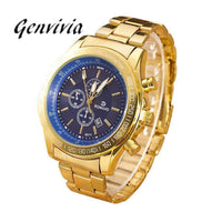 GENVIVIA watches men luxury brand gents gold watches for men stainless steel shock resistant wrist watch for men orologio