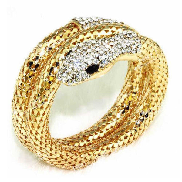 Punk Rhinestone Curved Stretch Snake Cuff Bangle Bracelet GD Shopping Jewelry and Watch Online