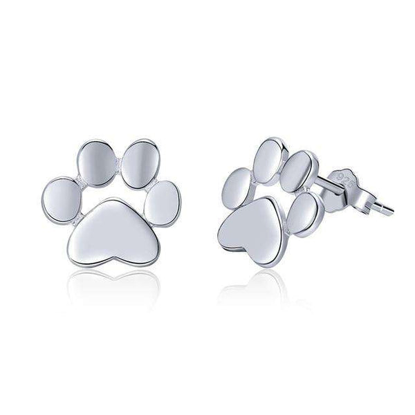 BAMOER Cat Earrrings 925 Sterling Silver Animal Dog Cat Footprints Stud Earrings for Women 3 Colors Gold Color Jewelry SCE407-4