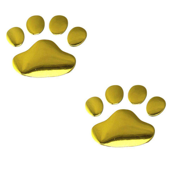 2pcs 3D Dog Pawprint Sticker Creative Plastic Decal Car Label Decals Decoration for Bonnet Door
