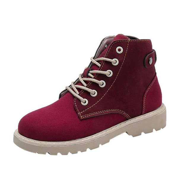 Fashion Women Boots Round Head Lace-up Martin Boots Leisure Shoes