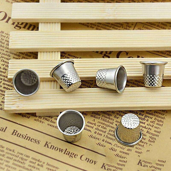 6/10x Finger Thimble Sewing Grip Hands Metal Shield Protector Pin Needle Silver