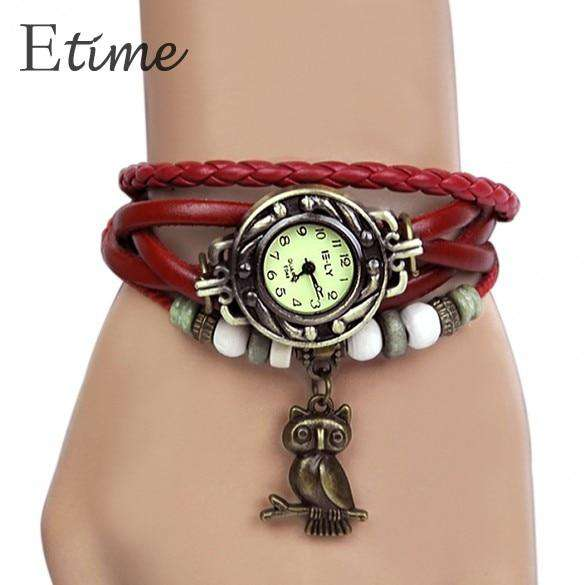 FANALA 2017  Vintage Quartz Women Dress Watchs Wrap Owl Pendant Synthetic Leather Bracelet Wrist Watch Free Shipping 58# Shopping Jewelry and Watch Online