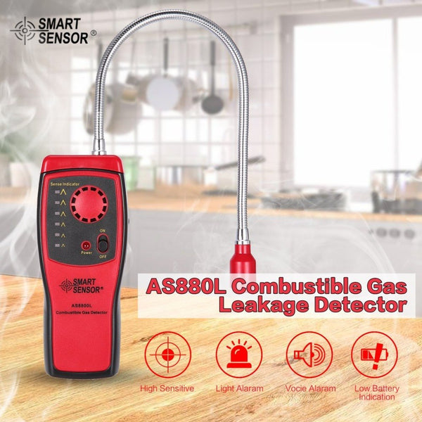 SMART SENSOR AS8800L Combustible Gas Detector Flammable Natural Gas Leakage Tester Tool Methane Gas Leak Detector Analyzer Shopping Last Products Online