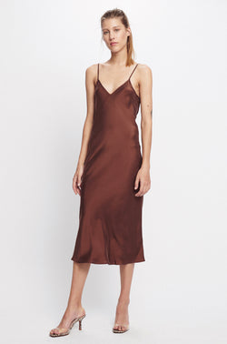 90S SLIP DRESS CHOCOLATE