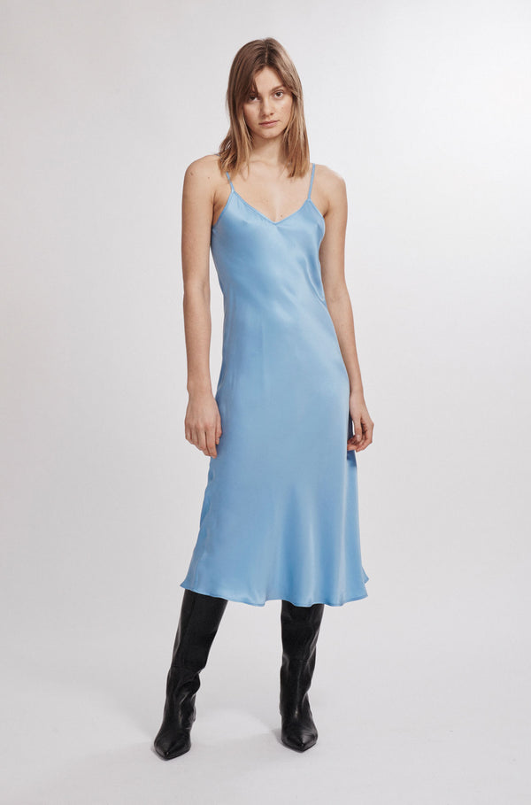 90S SILK SLIP DRESS AIRY BLUE